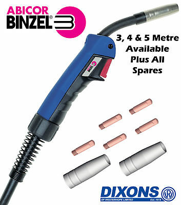 Official Binzel ERGO MB15 Euro Connection MIG Torch With Spare Shroud & Tips • 54.95£