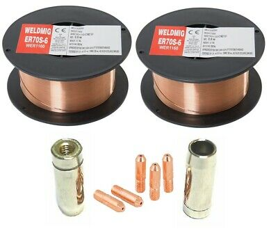 2 X Mild Steel MIG Welding Wire - 0.6mm 0.7kg Reel - (inc. M5 Tips And Shrouds) • 9.85£