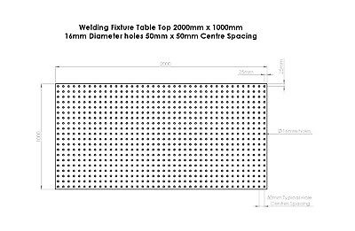 Welding Bench Top / Table / Fixture / Jig DXF File 2000mm X 1000mm 16mm Holes • 10£