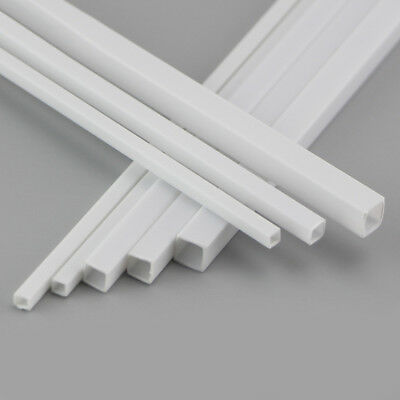 ABS Plastic Tube Square White 3x3x250mm To 6x6x250mm Length For Model DIY Build • 20.89£
