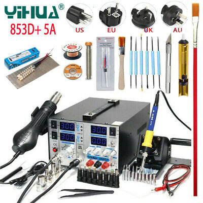 YIHUA 853D+ 5A BGA Rework Soldering Station Handle Hot Air Gun SMD Solder Iron  • 229.99£