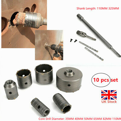 Set Of 10 Core Drill Bits Hole Cutter Extension Shank Wall Concrete Brick UK • 29.31£