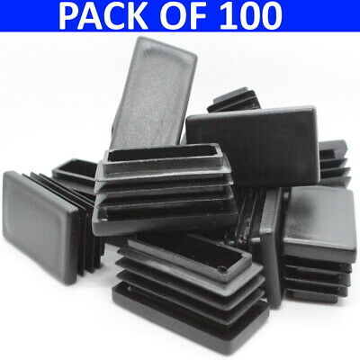 50x25 Pack 100 Rectangular Plastic End Caps Plugs Tube Box Section Inserts • 41.80£