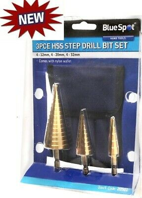 3 HSS Metal Cone DRILL Bits Set Depth Stage Hole Cutters Stepped Metric Holesaw • 19.95£