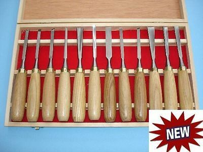 12pc Quality Wood Carving Chisels Hand Tools Kit Gouges Set Free Case Gouge • 49.95£