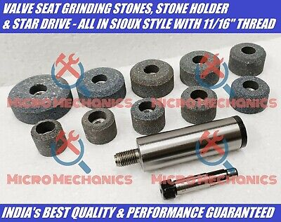 Valve Seat Grinding Stones With Stone Holder & Driver - SIOUX Type Thread 11/16  • 43.44£
