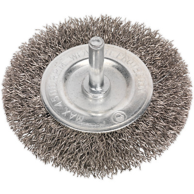 Sealey Flat Stainless Steel Wire Brush 75mm 6mm Shank • 7.95£