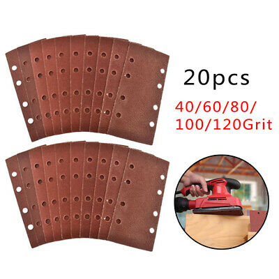 Sandpaper Pads 40-120 Grit Red Brown Professional 8 Dust Holes 1/3 Sheet • 12.23£