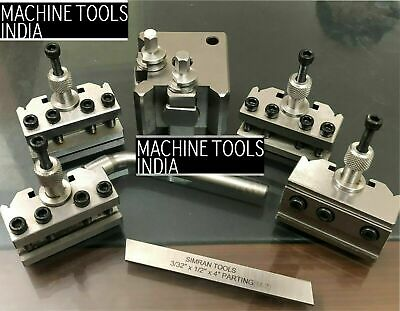 T-37 Quick Change Tool Post For Lathe 5 Pieces Set Alloy Steel High Quality T37 • 74.51£