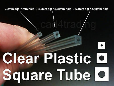 Clear Plastic Square Tube Round Hole 250mm Computer Mod Model Making Jewellery  • 2.76£