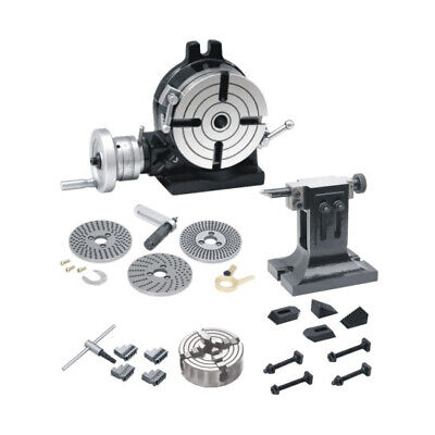 New Rotary Table 8 /200mm,Dividing Plates,Tail Stock,4Jaw Chuck Indepd. & Clamps • 629.99£