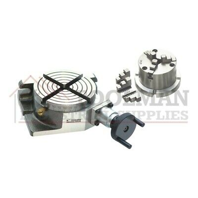 New Rotary Table 4 / 100mm Horizontal And Vertical + 80mm 3 Jaw Chuck • 108.99£