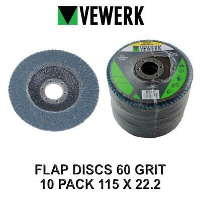 VEWERK Flap Discs 60 Grit Zirconium 115 X 22.2 Pack Of 10 8228 • 11.90£