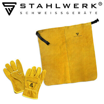 Welding Protecive Set STAHLWERK Real Leather Apron And Gloves Welding & Cutting • 17.90£