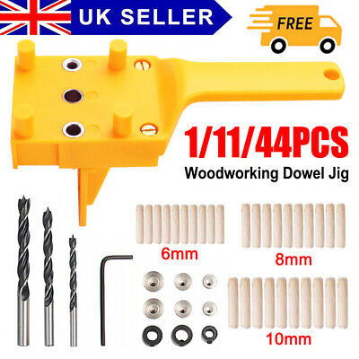 Handheld Woodworking Guide Wood Dowel Drilling Hole Saw Doweling Jig Drill Kits • 11.99£
