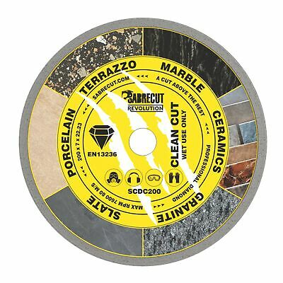 SabreCut 200mm Continuous Rim Disc Diamond Blade For Grinders And Tile Cutters • 14.99£