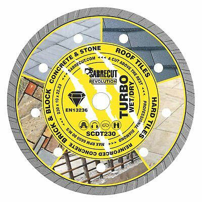 SabreCut 230mm Professional Turbo Cutting Disc Diamond Blade For Angle Grinders • 14.99£