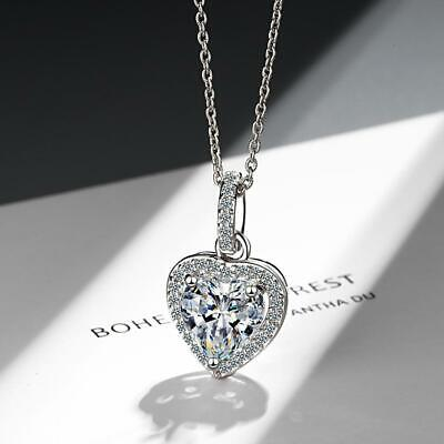 Womens Jewellery Heart Crystal Stone Pendant Necklace Sterling Chain Exquisite Q • 4.05£