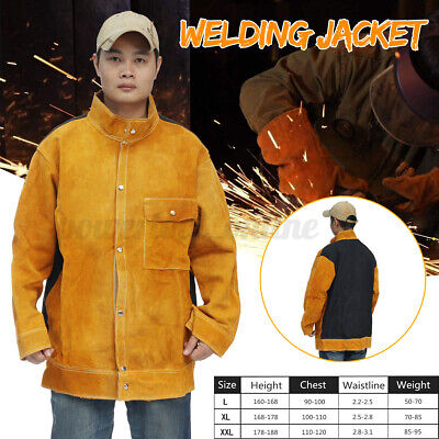 Welders Jacket Protective Coat Cow Leather Apron Welding Safety Appare • 40.48£