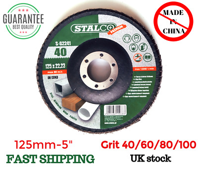 125mm 5  FLAP GRINDING SANDING DISCS 40/60/80/100 GRIT ANGLE WHEEL Stalco HQ • 2.99£
