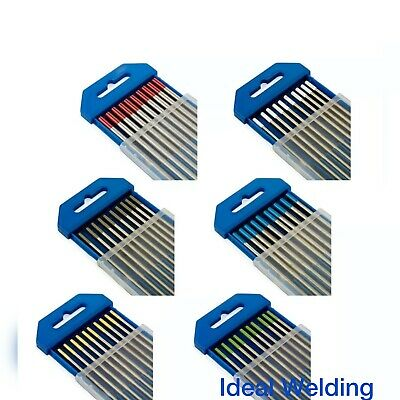 TIG WELDING TUNGSTEN ELECTRODES BLUE/GOLD/GREEN/GREY/RED/WHITE 1.6mm/2.4mm • 5.35£