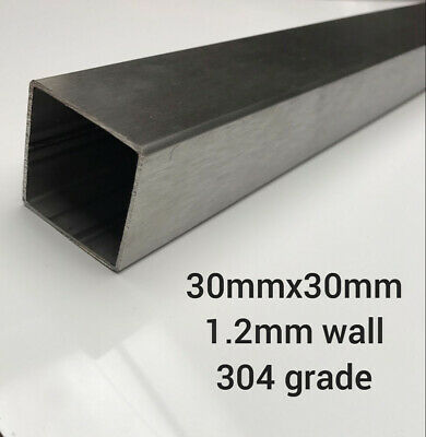 30mmx30mm 1.2mm Thick Stainless Steel Box Section. 304 Grade. Brushed Finish • 10.11£