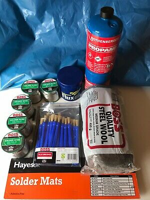 Plumber Soldering Kit:Solder, Map Gas, FernoxFlux, Heat Mat, Wire Wool, Brushes. • 100£