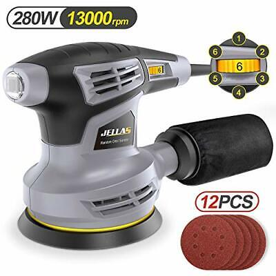 Jellas Orbital Sander, 125MM Sander Machine With 13000RPM 6 Variable Speed, Dust • 51.99£