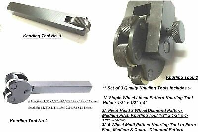 Set Of 3 Knurling Tools For Lathe, Metalworking, Machinists,Model Making Tools • 31.33£