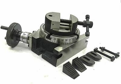 4'' 100mm Rotary Table Milling Indexing M6 Clamp Kit & Round Vice/Vise Machine • 104.33£