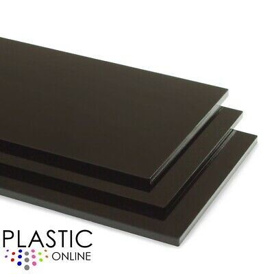 Black Colour Perspex Acrylic Sheet Plastic Material Panel Cut To Size • 26.11£