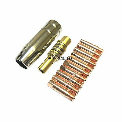12x MIG Welder Contact Tips Tip Connector Adaptor Holder Gas Nozzle 0.6/0.8/1.0 • 5.80£