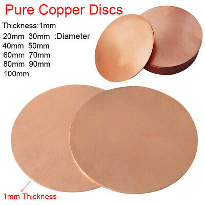 1mm Thick T2 Solid Pure Copper Discs Blanks Round Plate Metal Sheet 20-100mm OD • 5.16£