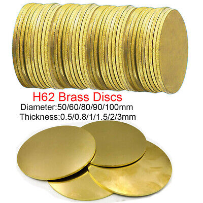 H62 Solid Brass Discs Blanks Metal Round Sheets OD 50-100mm Thick 0.5mm 1mm- 3mm • 4.04£