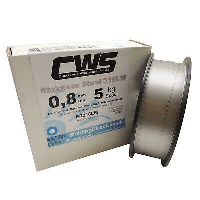 Stainless Steel MIG Welding Wire 316LSi 5kg 0.8mm Layer Wound. Free Delivery • 49.96£