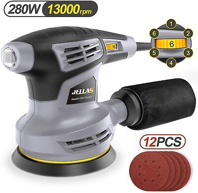 Jellas Orbital Sander, 280W 125mm Grinding Machine With 13000 RPM, 6-compartment • 56.99£