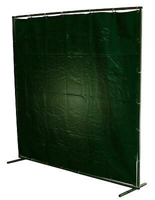 6 X 6 Green Welding PVC Curtain & Extendable Frame C/w Rings • 68.95£