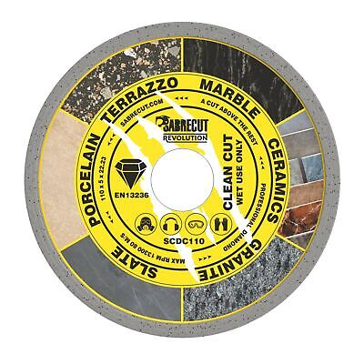 SabreCut 110mm Continuous Rim Disc Diamond Blade For Grinders And Tile Cutters • 7.99£