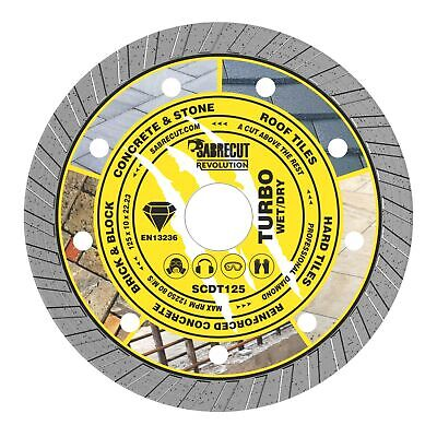 SabreCut 125mm Professional Turbo Cutting Disc Diamond Blade For Angle Grinders • 6.99£