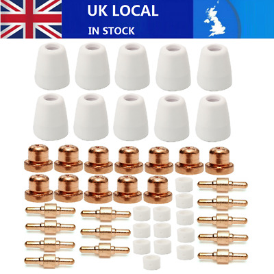 46Pcs Air Plasma Cutter Consumables Fit For PT-31 LG-40 Torch CUT 40/50 Tip Cup • 13£