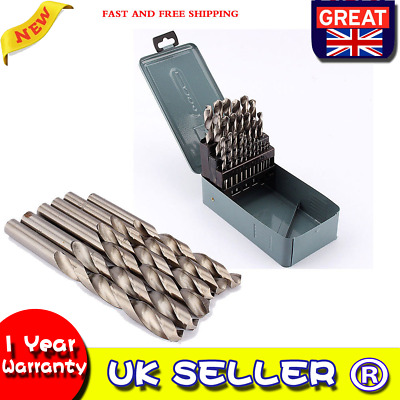 Professional 25 Piece 1mm~13mm Hss-r Twist Metal Steel Drill Bit Set Storage Tin • 12.79£