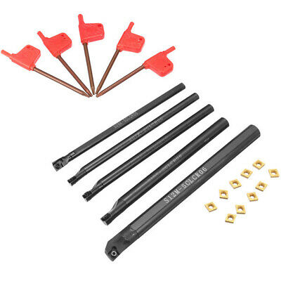 5x Boring Bar Tunring Holder Lathe Cutter + 10x CCMT0602 Inserts + 5x Wrenches • 24.49£