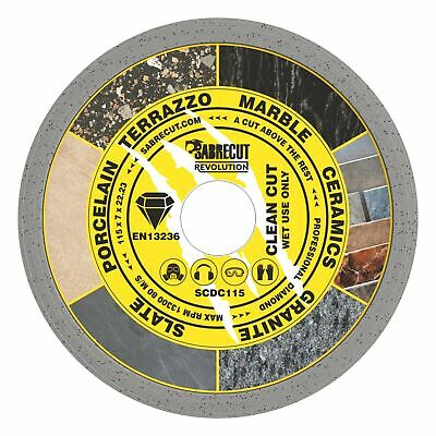 SabreCut 115mm Continuous Rim Disc Diamond Blade For Grinders And Tile Cutters • 7.99£