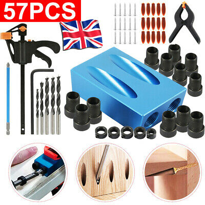 57pcs Silverline Pocket Hole Screw Jig Kit Woodworking Guide Drill Angle Locator • 16.99£