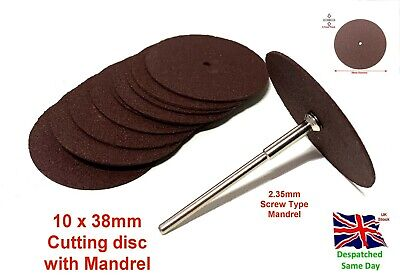 10pc 38mm Resin Fibre Cutting Disc With Mandrel Wheels Blades Sanding • 5.99£