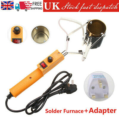 380W Electric Lead Melting Pot Solder Furnace Casting Heads Adjust W/ Adapter • 20.15£