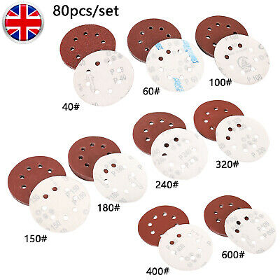80pcs 125mm Sanding Discs Pads 40,60,80,100,120,150,180,320,400 Loop Sandpaper • 9.99£