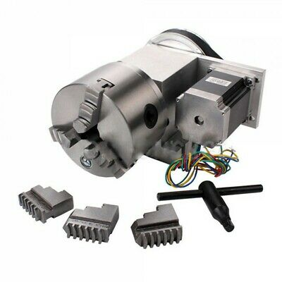 CNC 4th Axis Hollow Shaft Rotary Table Router Rotational Axis 3 Jaw Φ100mm Chuck • 239.99£