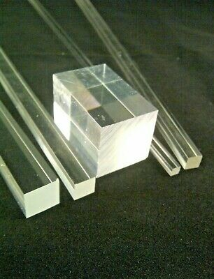 SQUARE CLEAR ACRYLIC ROD SOLID PERSPEX PLASTIC BAR ROD 3MM To 40MM SECTIONS • 22.90£
