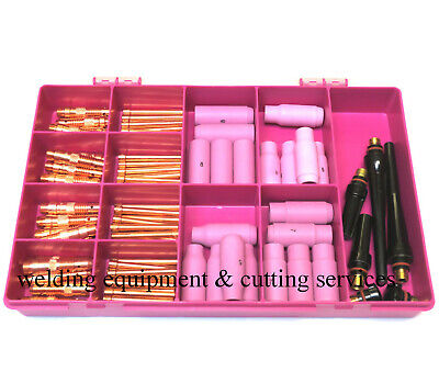 TIG Welding Torch Consumables Kit AC Or DC For WP17/18/26 With Case (2) • 65£